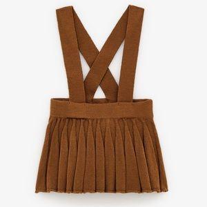 Zara girls knit suspender skirt toffee tan color